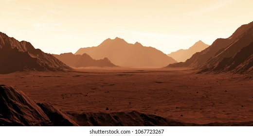 Mars the red planet. Martian landscape and dust in the atmosphere. 3D illustration