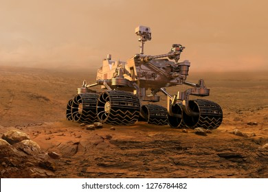 Mars rover exploring surface of Mars. Image of automated robotic space autonomous vehicle on the red Mars planet. Space exploration, astronomy science concept. 3D render