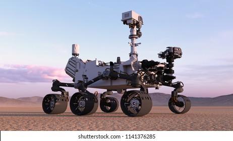 Mars Rover, robotische autonome Raumfahrzeuge auf einem verlassenen Planeten mit Hügeln im Hintergrund, 3D-Darstellung