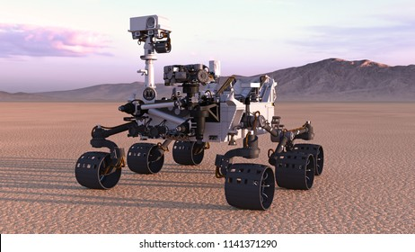 Mars Rover, robotic space autonomous vehicle on a deserted planet with mountains in background, 3D rendering