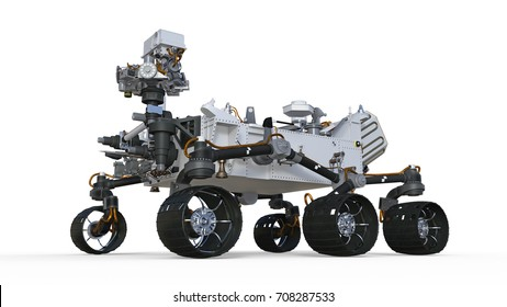 Mars Rover, robotic space autonomous vehicle isolated on white background, 3D illustration
