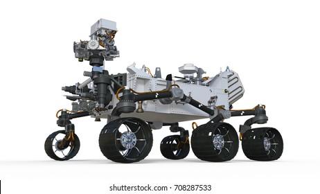 Mars Rover, autonome robotische Raumfähre einzeln auf weißem Hintergrund, 3D-Abbildung