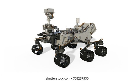 Mars Rover, Space Vehicle isolated on white background, 3D illustration