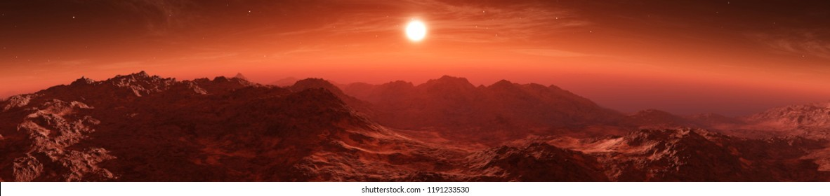 Mars at sunset, sunrise over the surface of an alien planet, 3D rendering