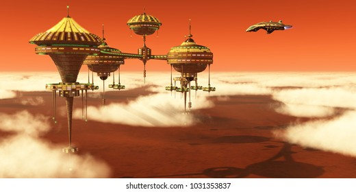 Mars Upper Atmosphere Station 3d illustration - A Mars planet colony in the upper atmosphere orbits around the red planet as Earth scientists study it.