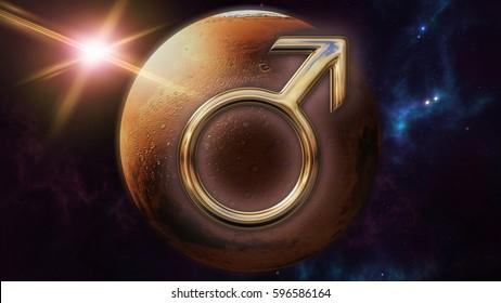 Mars zodiac horoscope symbol and planet. 3D rendering