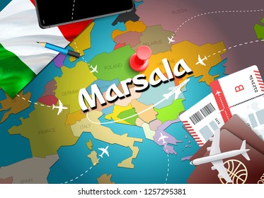 Marsala city travel and tourism destination concept. Italy flag and Marsala city on map. Italy travel concept map background. Tickets Planes and flights to Marsala holidays Italian vacation