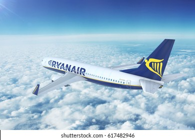 MARSEILLE PROVENCE AIRPORT, FRANCE - APRIL 8, 2017: Ryanair operated Boeing 737 on approach to land at Marseille Provence Airport, France. 3D illustration