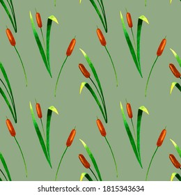 Marsh plants seamless pattern with reeds.Botanical watercolor illustration.Isolated on pistachio background.For fabrics, textiles, wrapping paper,packaging,for the design of school and office supplies