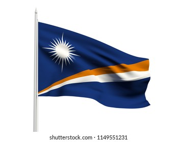 Marshall Islands flag floating in the wind with a White sky background. 3D illustration.