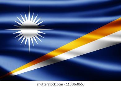 Marshall Islands flag of silk-3D illustration