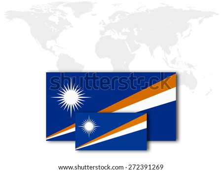 Marshall Islands Flag World Map Background Stock Illustration ...