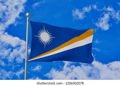 Marshall Islands national flag waving isolated in the blue cloudy sky realistic 3d illustration