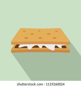 Marshmallow cracker icon. Flat illustration of marshmallow cracker icon for web design