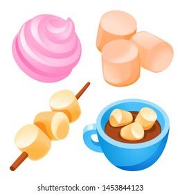 Marshmallow icons set. Cartoon set of marshmallow icons for web design