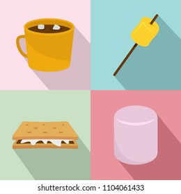 Marshmallow smores candy icons set. Flat illustration of 4 marshmallow smores candy icons for web