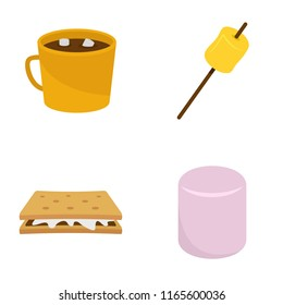 Marshmallow smores candy icons set. Flat illustration of 4 marshmallow smores candy icons isolated on white