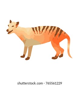 Marsupial wolf or thylacin silhouette with orange and brown watercolor texture of an Australian animal