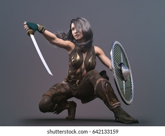 martial woman with sword and shiels - 3d rendering