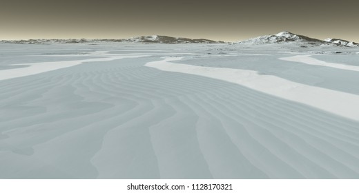 Martian ice dunes carved by wind - 3D Illustration