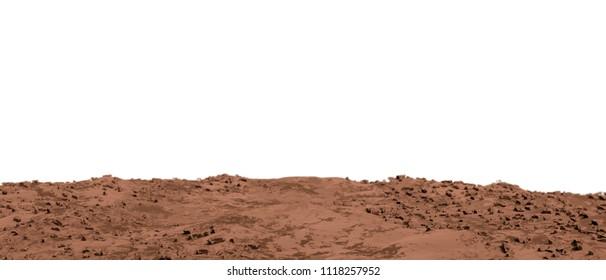 martian land isolated on white background 3d illustration