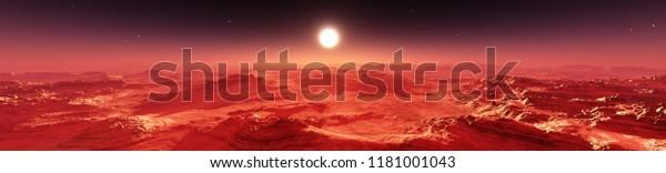 Martian landscape. Panorama of Mars. Alien landscape. 3d rendering
