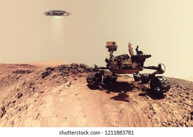 Martian landscape with rover and UFO. Fiction scene with 3d rendering object.  Elements of this image furnished by NASA.