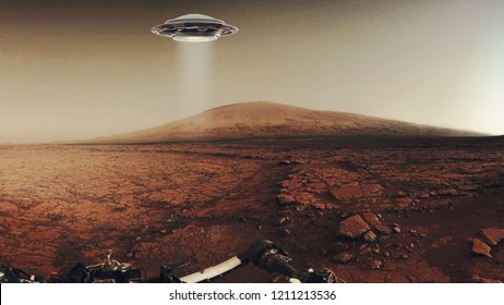 Martian landscape with UFO. Fiction scene with 3d rendering object. Elements of this image furnished by NASA.