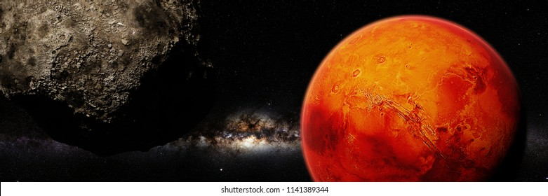 martian moon and the planet Mars (3d space render banner, elements of this image are furnished by NASA)