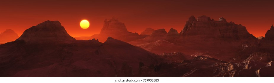 Martian sunset, panorama of the surface of Mars, 3d rendering