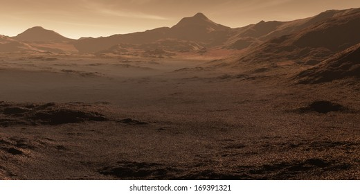 Martian valley with stony magnetite regolith deposits