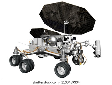 Martian Water Ice Prospecting Rover - 3D Illustration