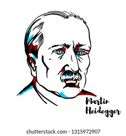 Martin Heidegger engraved portrait with ink contours. German philosopher and a seminal thinker in the Continental tradition and philosophical hermeneutics.