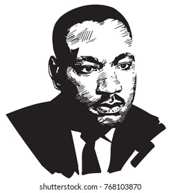 Martin Luther King. Black and white hand drawn portrait .