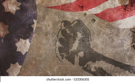 Martin Luther King Day. Flag Concrete and Fist