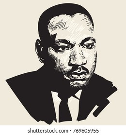 Martin Luther King. Hand drawn portrait .