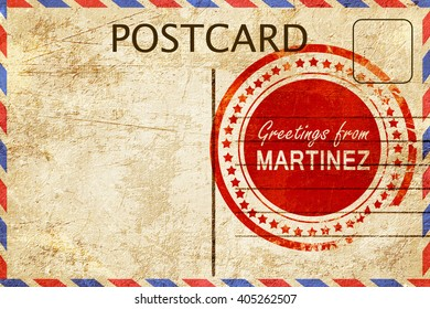 martinez stamp on a vintage, old postcard