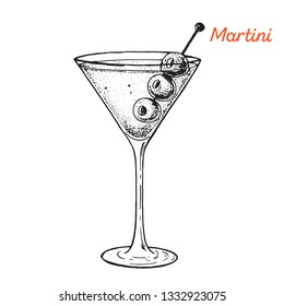 Martini cocktail illustration. Alcoholic cocktails hand drawn illustration. Sketch style.