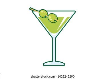 Martini drink with olive illustration. Martini glass with olive icon. Glass of martini illustration. Olive Martini cartoon