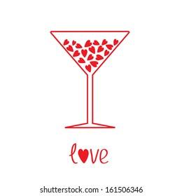 Martini glass with hearts inside. Card. Rasterized copy