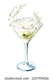 Martini glass with olive and splash. Watercolor hand drawn illustration isolated on white background