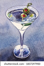 Martini with green olives. Glass of extra dry vermouth martini. Alcohol cocktail. Watercolor painting.
