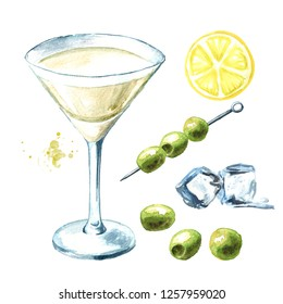 Martini with olives set, watercolor hand drawn illustration isolated on white background