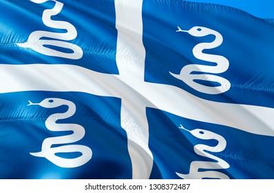 Martinique flag. 3D Waving flag design. The national symbol of Martinique, 3D rendering. The national symbol of Martinique background wallpaper. Caribbean flag 3D ribbon,wallpaper, pattern background