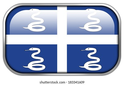 Martinique Flag rectangle glossy button
