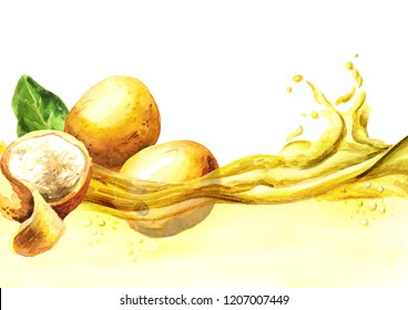 Marula oil wave. Watercolor hand drawn illustration, isolated on white background