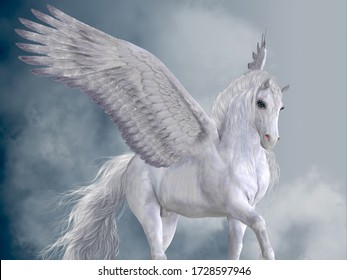 Marvelous White Pegasus 3D illustration - The Pegasus horse is a magical winged creature who is legendary from Greek mythology.
