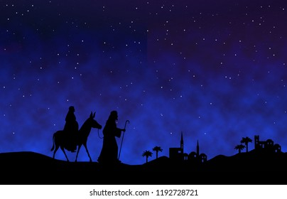 Mary and Joseph journey to Bethlehem, with characters in black silhouette on desert setting at night.