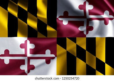 Maryland 3D waving flag illustration. Texture can be used as background.