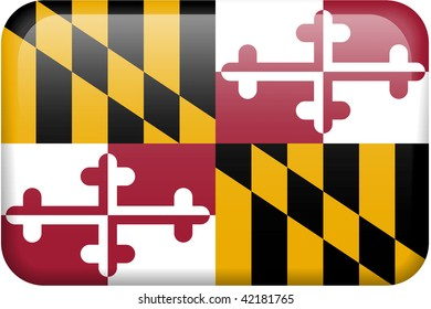 Maryland flag rectangular button.  Part of set of US State flags all in 2:3 proportion with accurate design and colors.